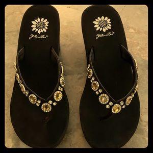 Yellow Box Brown Rhinestoned Sandals